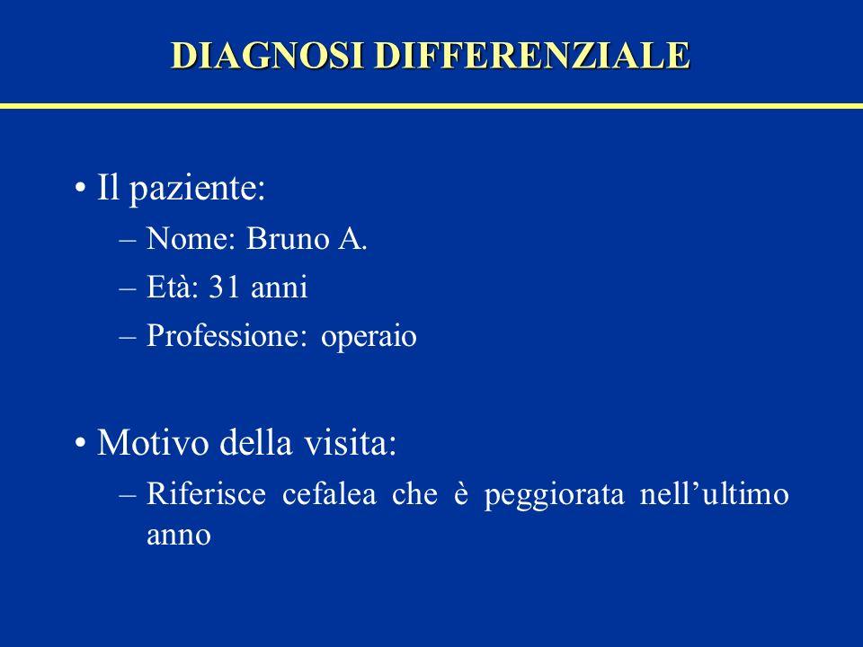 Il paziente: –Nome: Bruno A. –Età: 31 anni –Professione: operaio Motivo della visita: –Riferisce cefalea che è peggiorata nellultimo anno DIAGNOSI DIF