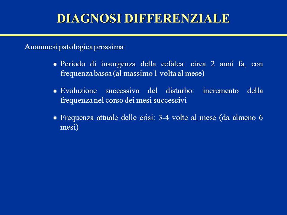 Anamnesi patologica prossima: Periodo di insorgenza della cefalea: circa 2 anni fa, con frequenza bassa (al massimo 1 volta al mese) Evoluzione succes