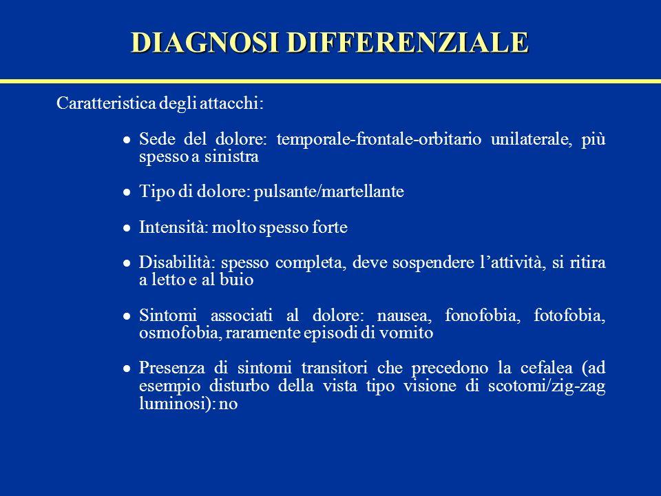 Caratteristica degli attacchi: Sede del dolore: temporale-frontale-orbitario unilaterale, più spesso a sinistra Tipo di dolore: pulsante/martellante I