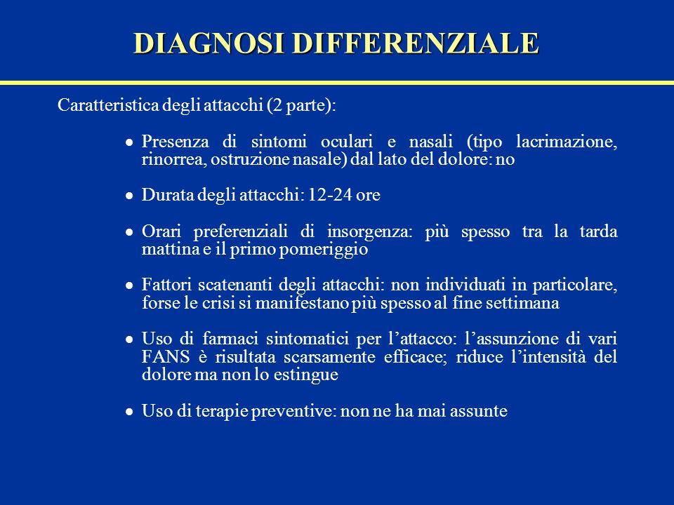 Caratteristica degli attacchi (2 parte): Presenza di sintomi oculari e nasali (tipo lacrimazione, rinorrea, ostruzione nasale) dal lato del dolore: no