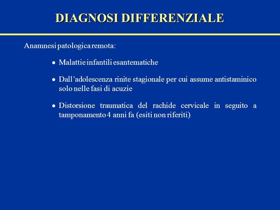 Anamnesi patologica remota: Malattie infantili esantematiche Dalladolescenza rinite stagionale per cui assume antistaminico solo nelle fasi di acuzie