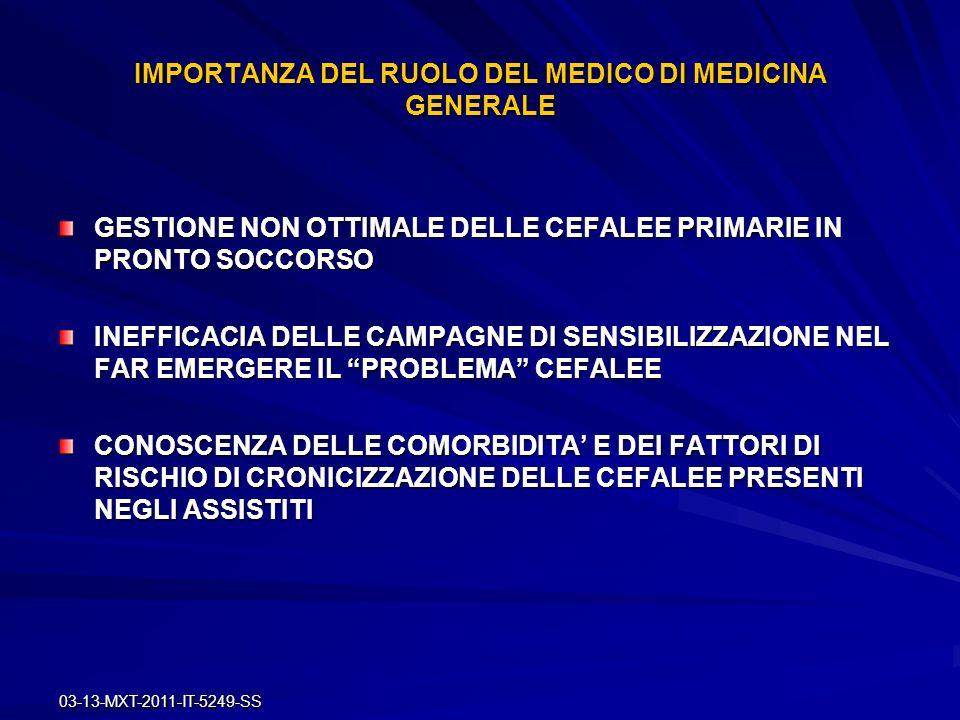 03-13-MXT-2011-IT-5249-SS IMPORTANZA DEL RUOLO DEL MEDICO DI MEDICINA GENERALE GESTIONE NON OTTIMALE DELLE CEFALEE PRIMARIE IN PRONTO SOCCORSO INEFFIC