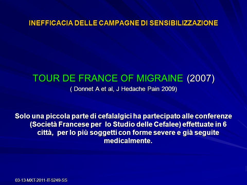 03-13-MXT-2011-IT-5249-SS INEFFICACIA DELLE CAMPAGNE DI SENSIBILIZZAZIONE TOUR DE FRANCE OF MIGRAINE (2007) ( Donnet A et al, J Hedache Pain 2009) Sol