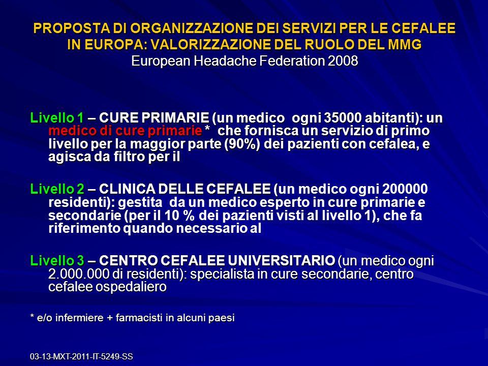 03-13-MXT-2011-IT-5249-SS PROPOSTA DI ORGANIZZAZIONE DEI SERVIZI PER LE CEFALEE IN EUROPA: VALORIZZAZIONE DEL RUOLO DEL MMG European Headache Federati