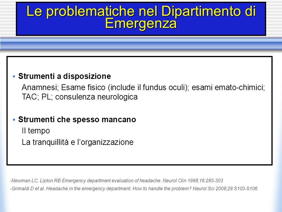 Le problematiche nel Dipartimento di Emergenza Strumenti a disposizione Anamnesi; Esame fisico (include il fundus oculi); esami emato-chimici; TAC; PL