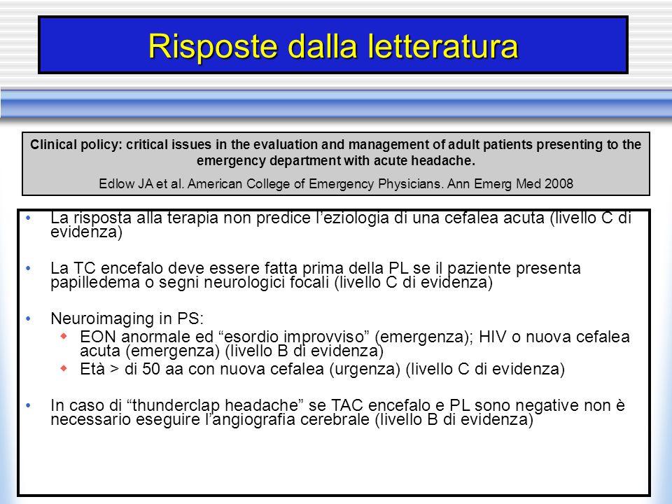 Risposte dalla letteratura La risposta alla terapia non predice leziologia di una cefalea acuta (livello C di evidenza) La TC encefalo deve essere fat