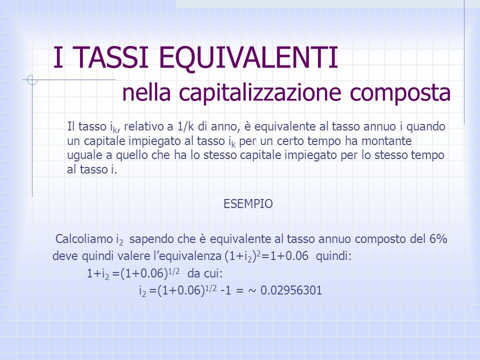 nella capitalizzazione composta Il tasso i k, relativo a 1/k di anno, è equivalente al tasso annuo i quando un capitale impiegato al tasso i k per un