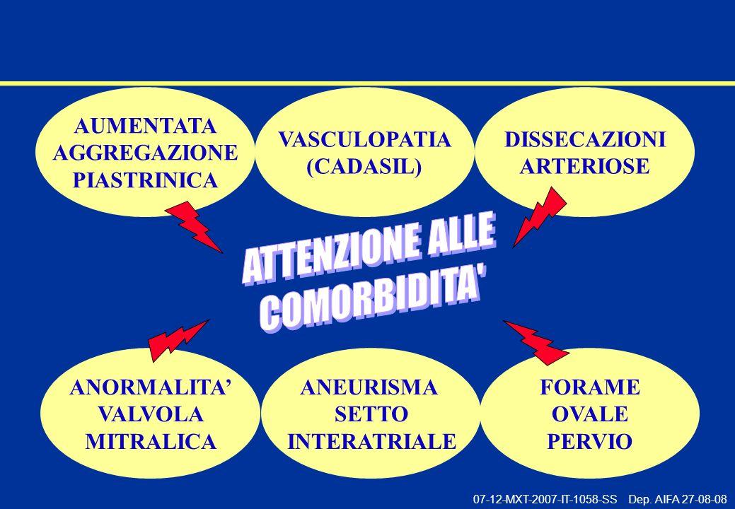 07-12-MXT-2007-IT-1058-SS Dep. AIFA 27-08-08 ANORMALITA VALVOLA MITRALICA ANEURISMA SETTO INTERATRIALE DISSECAZIONI ARTERIOSE AUMENTATA AGGREGAZIONE P