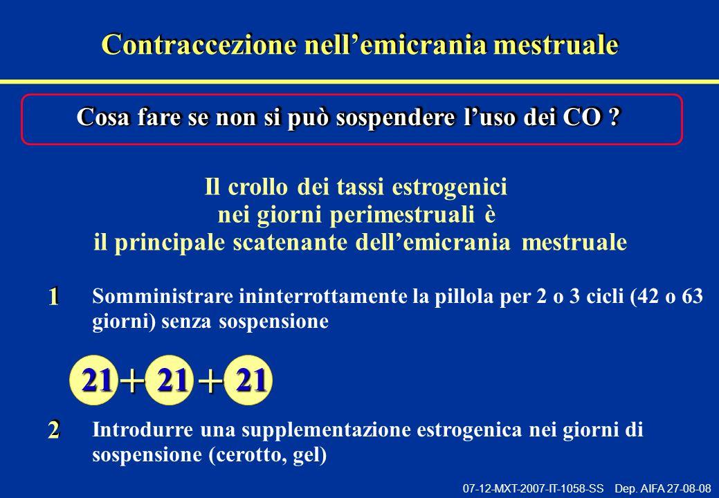 07-12-MXT-2007-IT-1058-SS Dep. AIFA 27-08-08 Il crollo dei tassi estrogenici nei giorni perimestruali è il principale scatenante dellemicrania mestrua