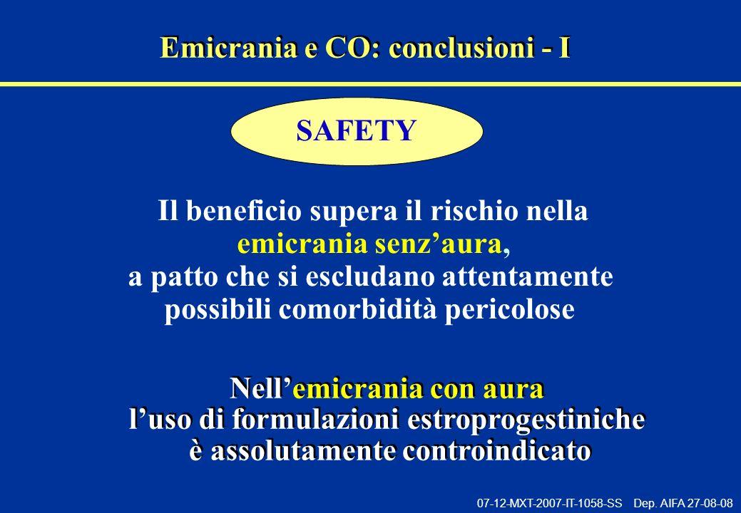 07-12-MXT-2007-IT-1058-SS Dep. AIFA 27-08-08 Emicrania e CO: conclusioni - I Il beneficio supera il rischio nella emicrania senzaura, a patto che si e