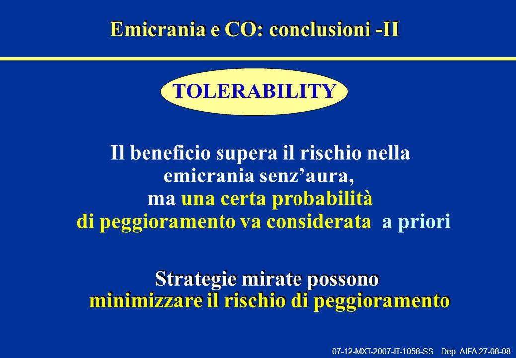 07-12-MXT-2007-IT-1058-SS Dep. AIFA 27-08-08 Emicrania e CO: conclusioni -II Il beneficio supera il rischio nella emicrania senzaura, ma una certa pro
