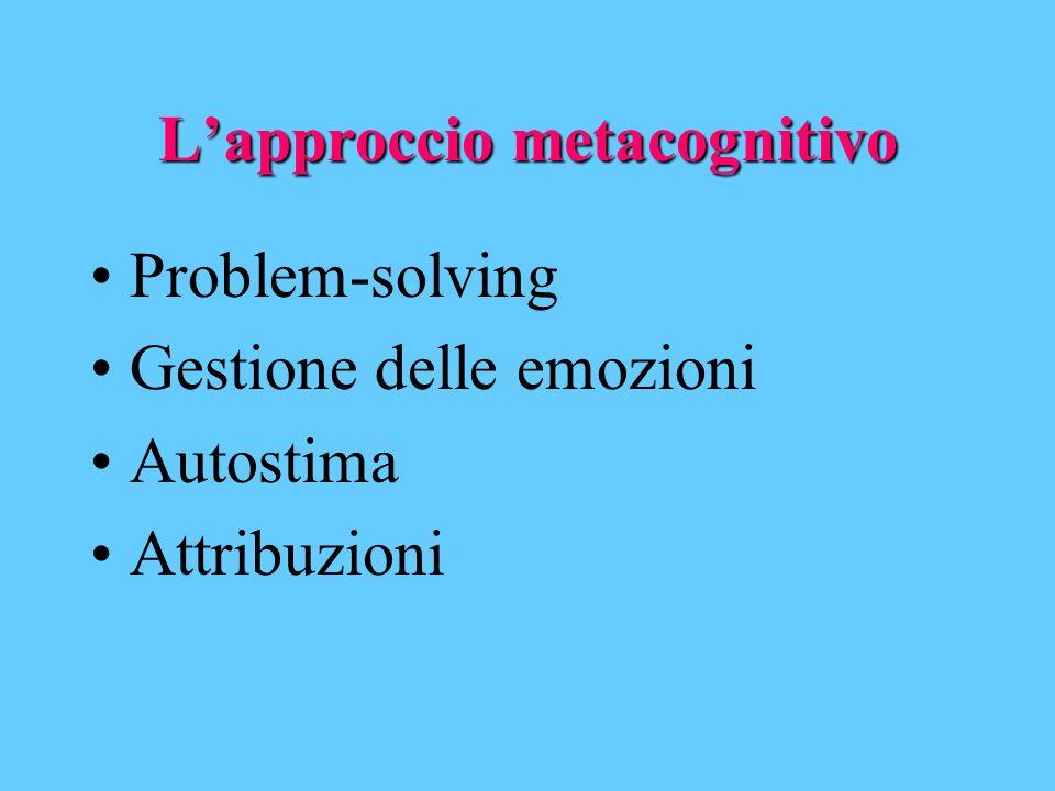 Lapproccio metacognitivo Problem-solving Gestione delle emozioni Autostima Attribuzioni