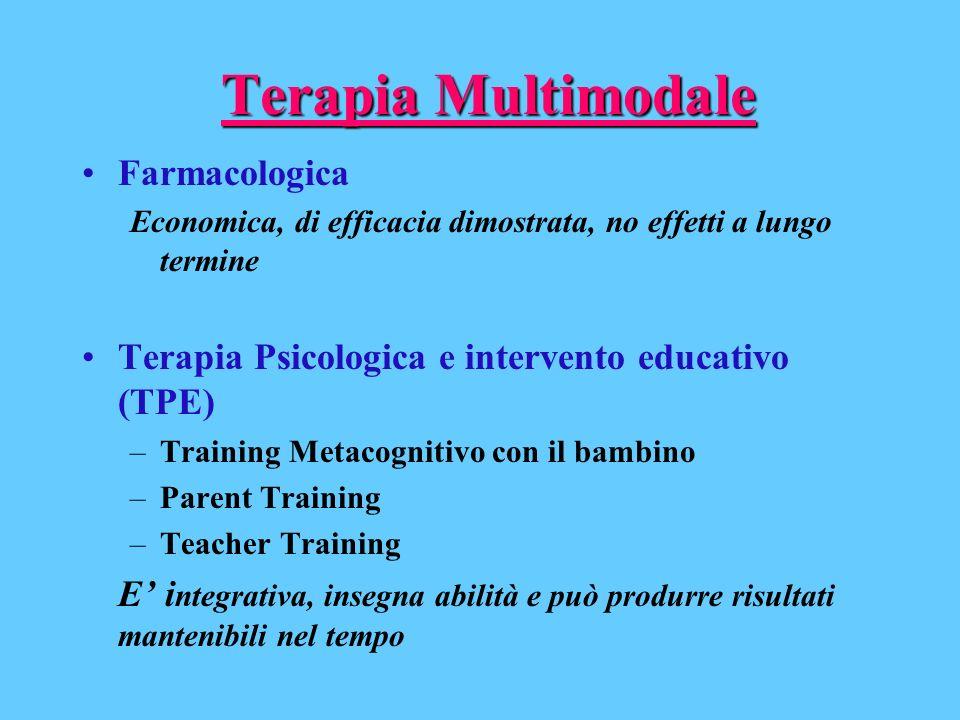Terapia Multimodale Farmacologica Economica, di efficacia dimostrata, no effetti a lungo termine Terapia Psicologica e intervento educativo (TPE) –Tra