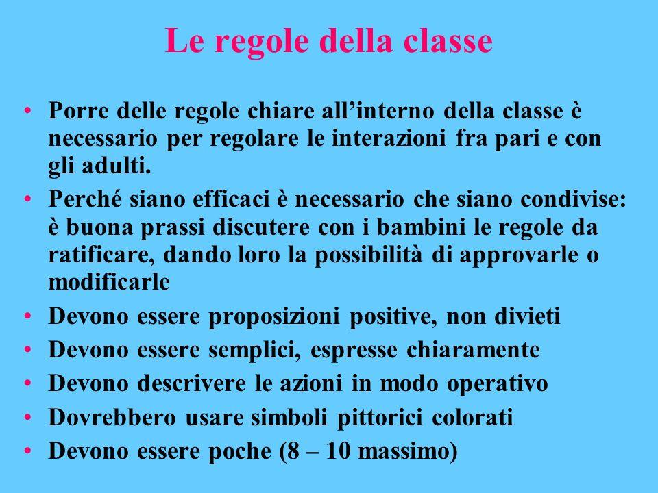 Le regole della classe Porre delle regole chiare allinterno della classe è necessario per regolare le interazioni fra pari e con gli adulti. Perché si