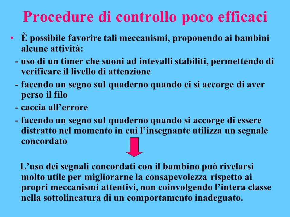 Procedure di controllo poco efficaci È possibile favorire tali meccanismi, proponendo ai bambini alcune attività: - uso di un timer che suoni ad intev
