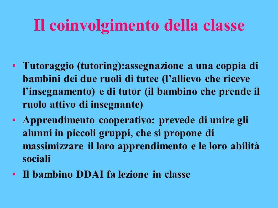 Il coinvolgimento della classe Tutoraggio (tutoring):assegnazione a una coppia di bambini dei due ruoli di tutee (lallievo che riceve linsegnamento) e