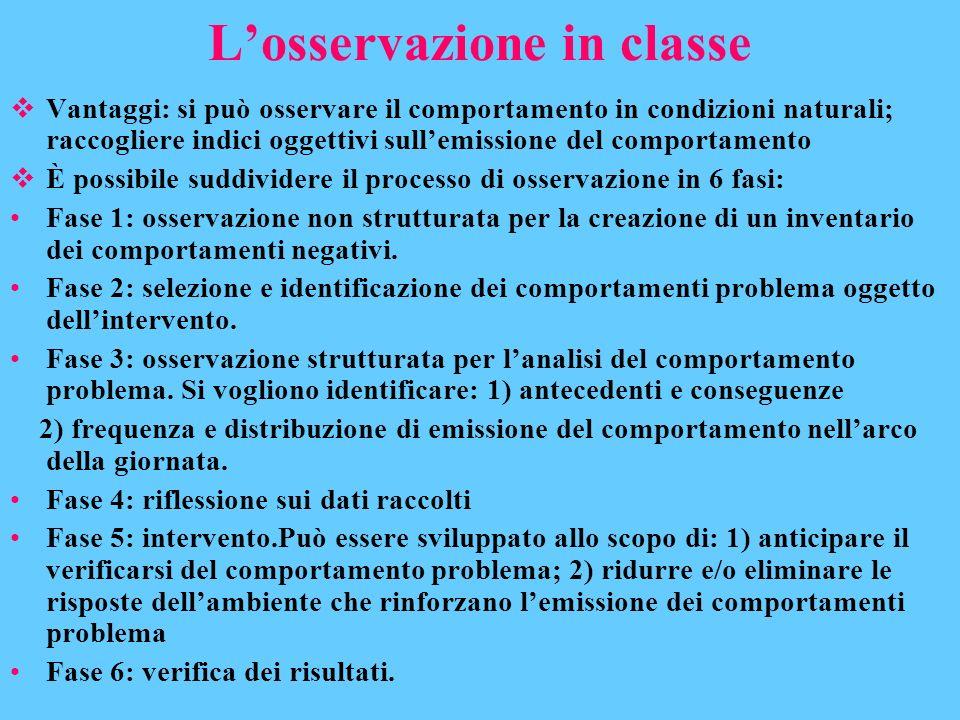 Losservazione in classe Vantaggi: si può osservare il comportamento in condizioni naturali; raccogliere indici oggettivi sullemissione del comportamen
