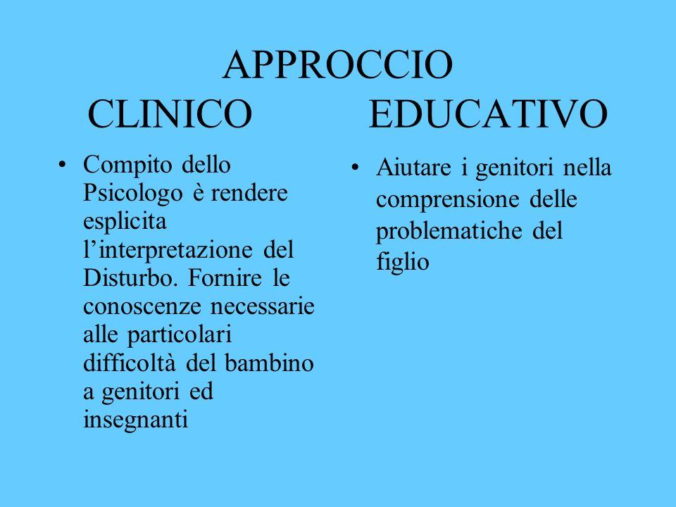 APPROCCIO CLINICO EDUCATIVO Compito dello Psicologo è rendere esplicita linterpretazione del Disturbo. Fornire le conoscenze necessarie alle particola