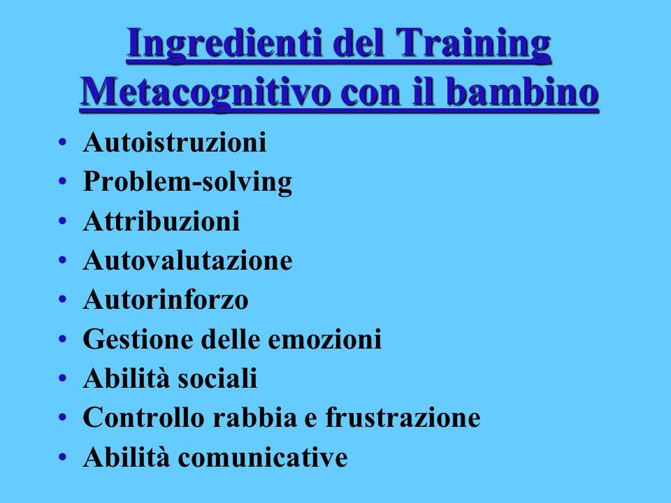 Ingredienti del Training Metacognitivo con il bambino Autoistruzioni Problem-solving Attribuzioni Autovalutazione Autorinforzo Gestione delle emozioni