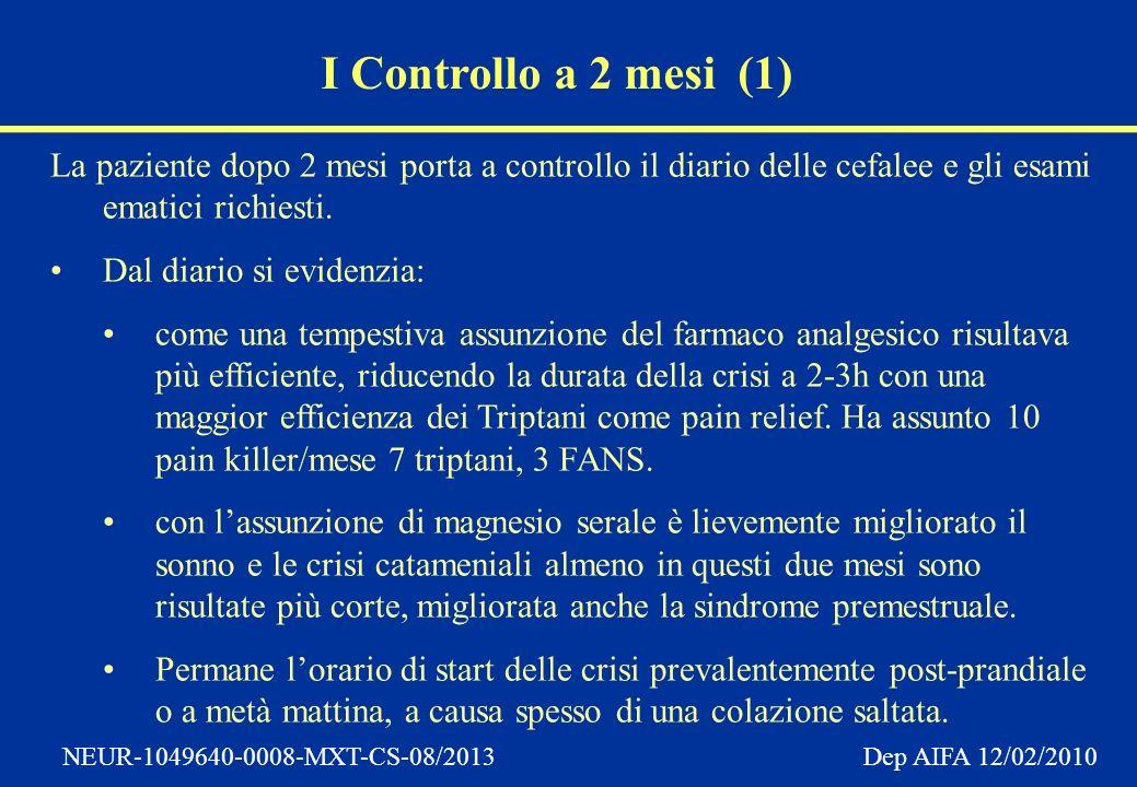 NEUR-1049640-0008-MXT-CS-08/2013 Dep AIFA 12/02/2010 I Controllo a 2 mesi (1) La paziente dopo 2 mesi porta a controllo il diario delle cefalee e gli esami ematici richiesti.