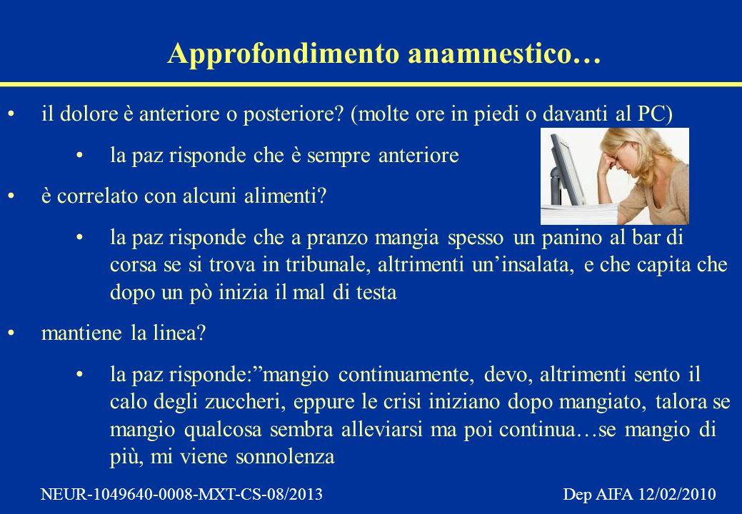 NEUR-1049640-0008-MXT-CS-08/2013 Dep AIFA 12/02/2010 Approfondimento anamnestico… il dolore è anteriore o posteriore.