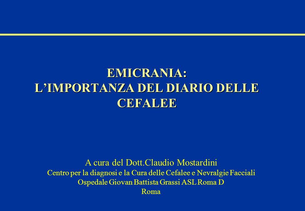 EMICRANIA: LIMPORTANZA DEL DIARIO DELLE CEFALEE A cura del Dott.Claudio Mostardini Centro per la diagnosi e la Cura delle Cefalee e Nevralgie Facciali