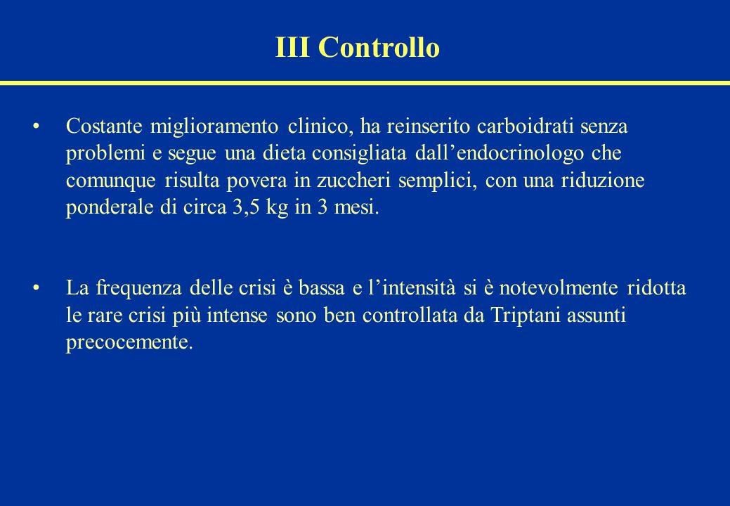 III Controllo Costante miglioramento clinico, ha reinserito carboidrati senza problemi e segue una dieta consigliata dallendocrinologo che comunque ri