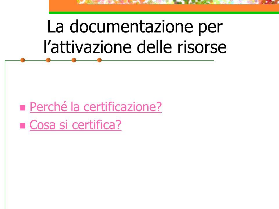 La documentazione per lattivazione delle risorse Perché la certificazione Cosa si certifica