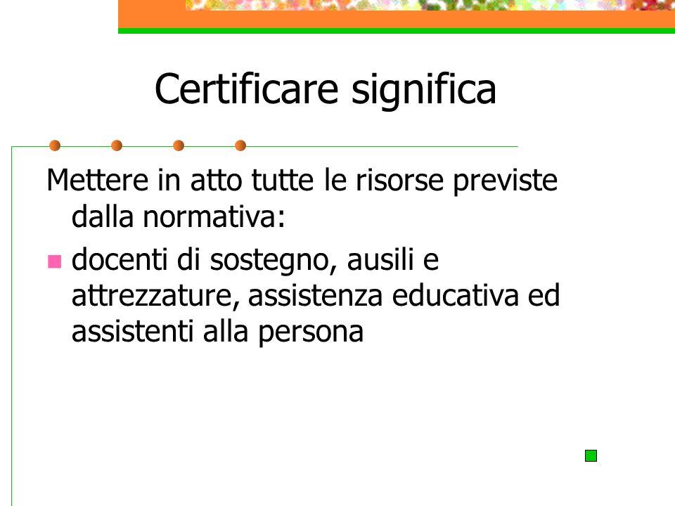 Certificare significa Mettere in atto tutte le risorse previste dalla normativa: docenti di sostegno, ausili e attrezzature, assistenza educativa ed assistenti alla persona
