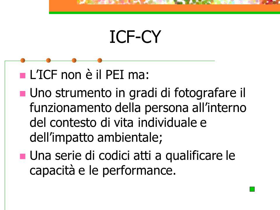 ICF-CY LICF non è il PEI ma: Uno strumento in gradi di fotografare il funzionamento della persona allinterno del contesto di vita individuale e dellimpatto ambientale; Una serie di codici atti a qualificare le capacità e le performance.