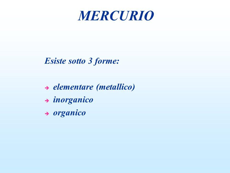 Esiste sotto 3 forme: è elementare (metallico) è inorganico è organico MERCURIO