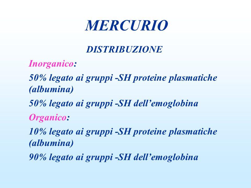 DISTRIBUZIONE Inorganico: 50% legato ai gruppi -SH proteine plasmatiche (albumina) 50% legato ai gruppi -SH dellemoglobina Organico: 10% legato ai gru