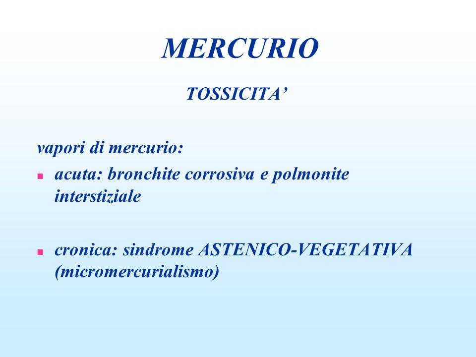 TOSSICITA vapori di mercurio: n acuta: bronchite corrosiva e polmonite interstiziale n cronica: sindrome ASTENICO-VEGETATIVA (micromercurialismo) MERC