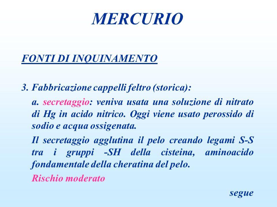 FONTI DI INQUINAMENTO 3.Fabbricazione cappelli feltro (storica): b.