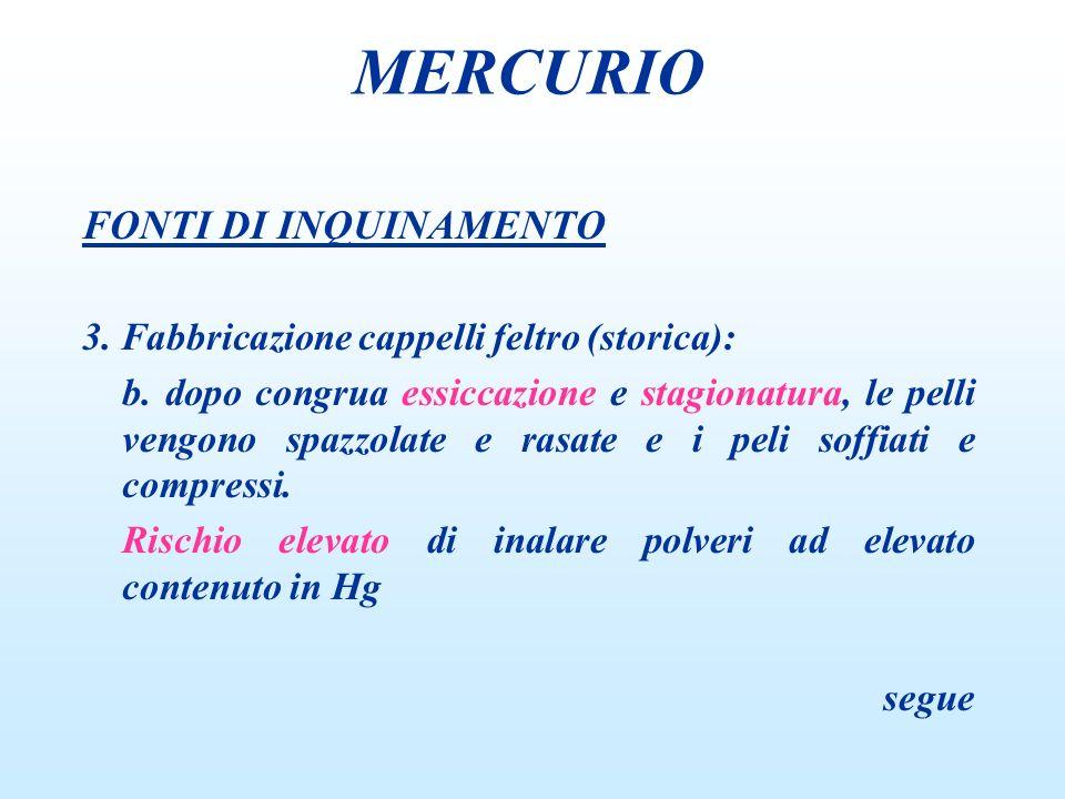 FONTI DI INQUINAMENTO 3.Fabbricazione cappelli feltro (storica): c.