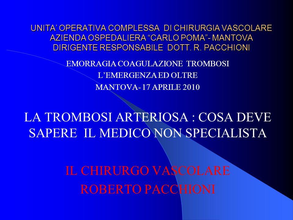 UNITA OPERATIVA COMPLESSA DI CHIRURGIA VASCOLARE AZIENDA OSPEDALIERA CARLO POMA- MANTOVA DIRIGENTE RESPONSABILE DOTT. R. PACCHIONI EMORRAGIA COAGULAZI