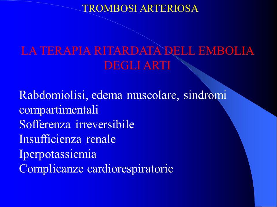 LA TERAPIA RITARDATA DELL EMBOLIA DEGLI ARTI Rabdomiolisi, edema muscolare, sindromi compartimentali Sofferenza irreversibile Insufficienza renale Ipe