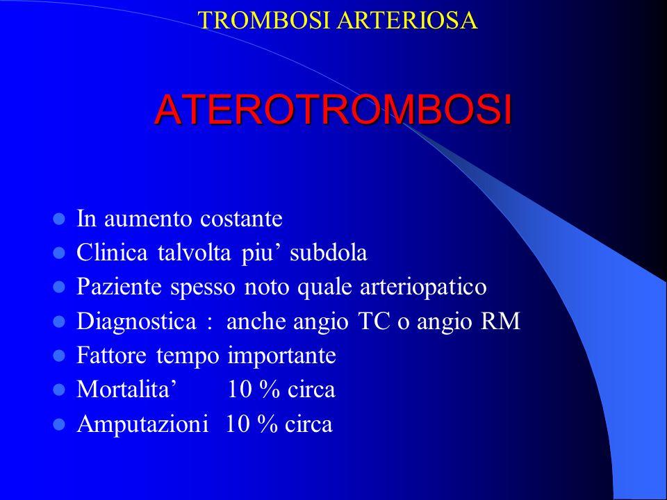 ATEROTROMBOSI In aumento costante Clinica talvolta piu subdola Paziente spesso noto quale arteriopatico Diagnostica : anche angio TC o angio RM Fattor