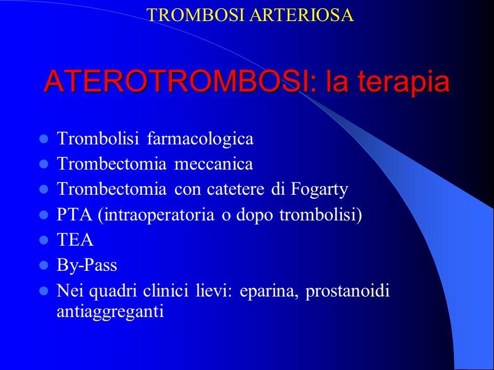 ATEROTROMBOSI: la terapia Trombolisi farmacologica Trombectomia meccanica Trombectomia con catetere di Fogarty PTA (intraoperatoria o dopo trombolisi)