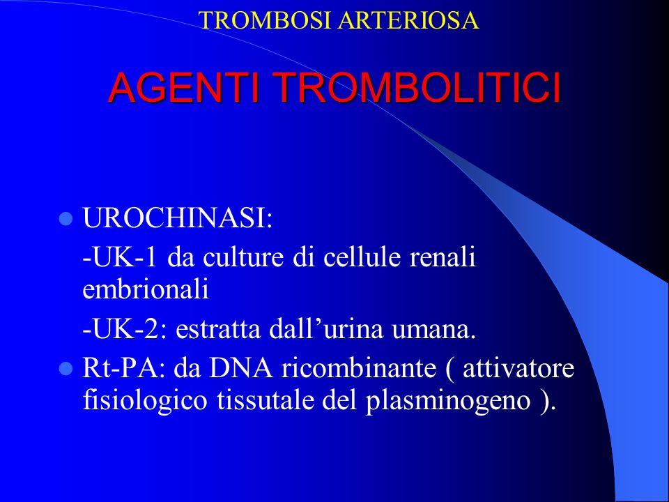 AGENTI TROMBOLITICI UROCHINASI: -UK-1 da culture di cellule renali embrionali -UK-2: estratta dallurina umana. Rt-PA: da DNA ricombinante ( attivatore