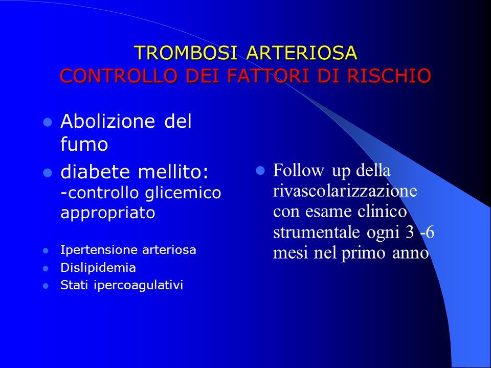 TROMBOSI ARTERIOSA CONTROLLO DEI FATTORI DI RISCHIO Abolizione del fumo diabete mellito: -controllo glicemico appropriato Ipertensione arteriosa Disli