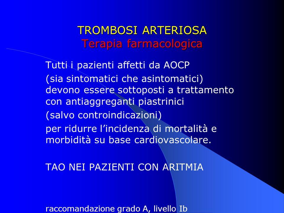 TROMBOSI ARTERIOSA Terapia farmacologica Tutti i pazienti affetti da AOCP (sia sintomatici che asintomatici) devono essere sottoposti a trattamento co