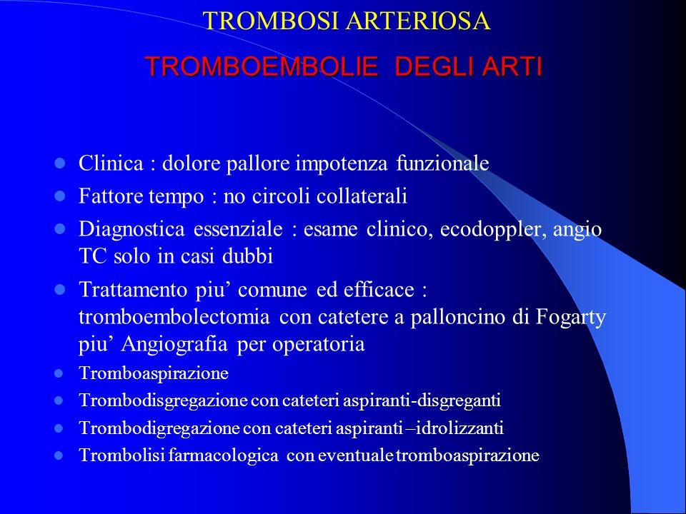 TROMBOEMBOLIE DEGLI ARTI Clinica : dolore pallore impotenza funzionale Fattore tempo : no circoli collaterali Diagnostica essenziale : esame clinico,