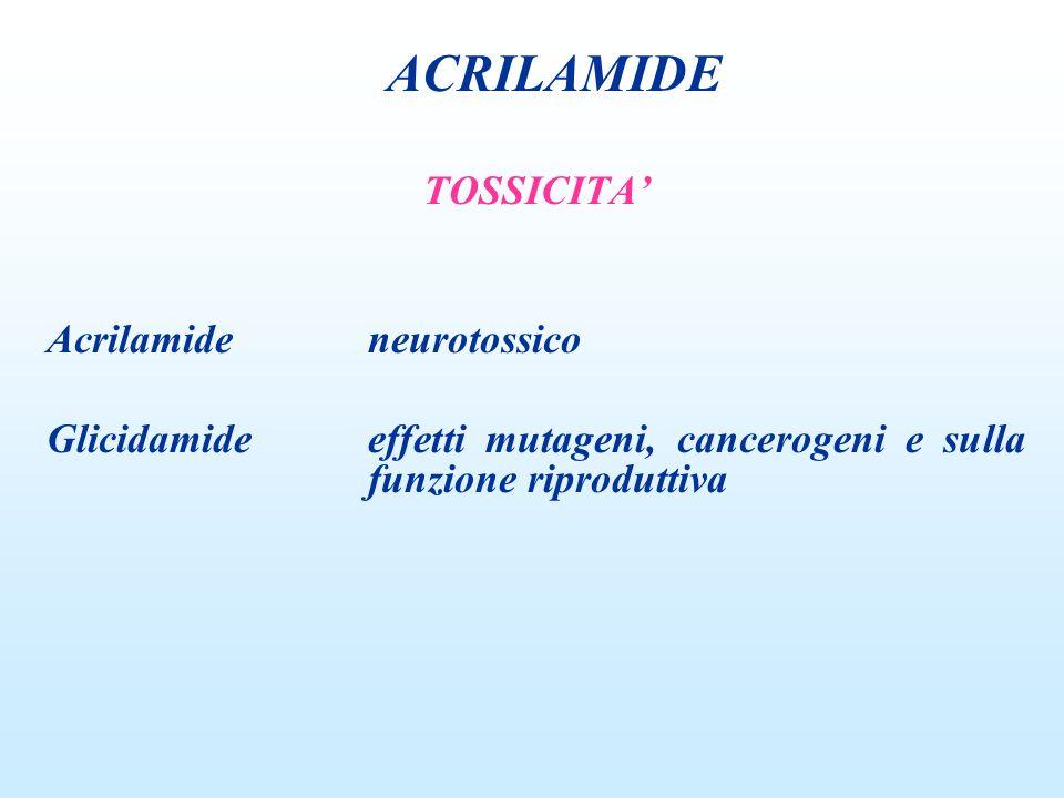 TOSSICITA Acrilamideneurotossico Glicidamideeffetti mutageni, cancerogeni e sulla funzione riproduttiva ACRILAMIDE