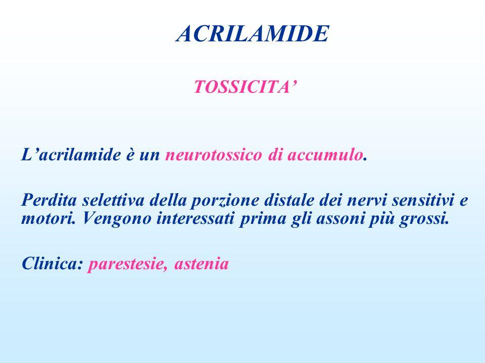 TOSSICITA Lacrilamide è un neurotossico di accumulo. Perdita selettiva della porzione distale dei nervi sensitivi e motori. Vengono interessati prima