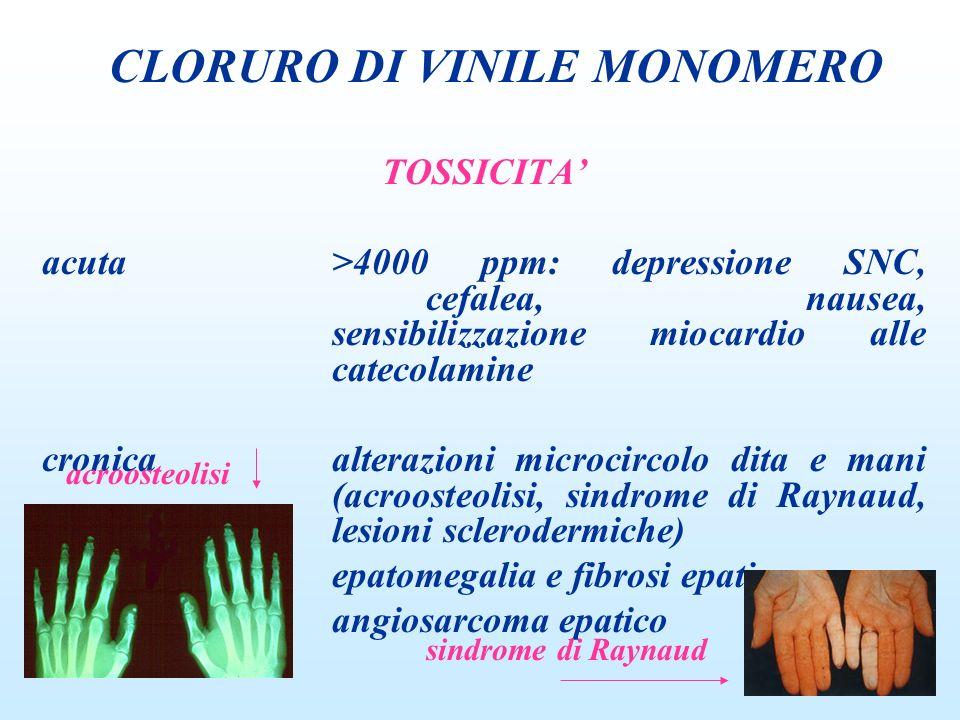 TOSSICITA acuta>4000 ppm: depressione SNC, cefalea, nausea, sensibilizzazione miocardio alle catecolamine cronicaalterazioni microcircolo dita e mani