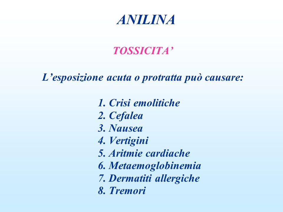 TOSSICITA Lesposizione acuta o protratta può causare: 1. Crisi emolitiche 2. Cefalea 3. Nausea 4. Vertigini 5. Aritmie cardiache 6. Metaemoglobinemia