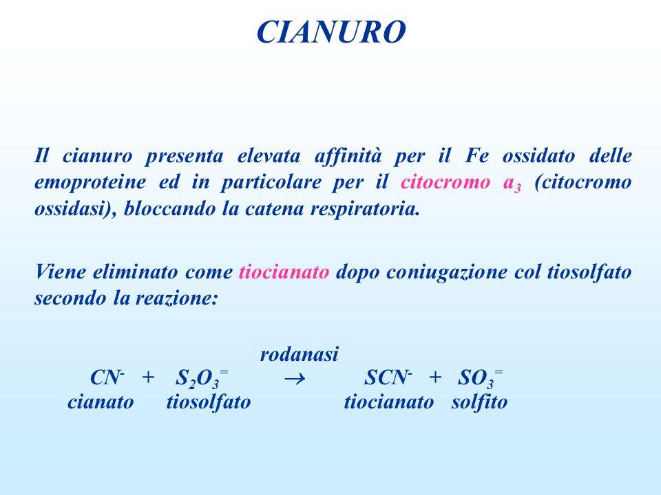 Il cianuro presenta elevata affinità per il Fe ossidato delle emoproteine ed in particolare per il citocromo a 3 (citocromo ossidasi), bloccando la ca