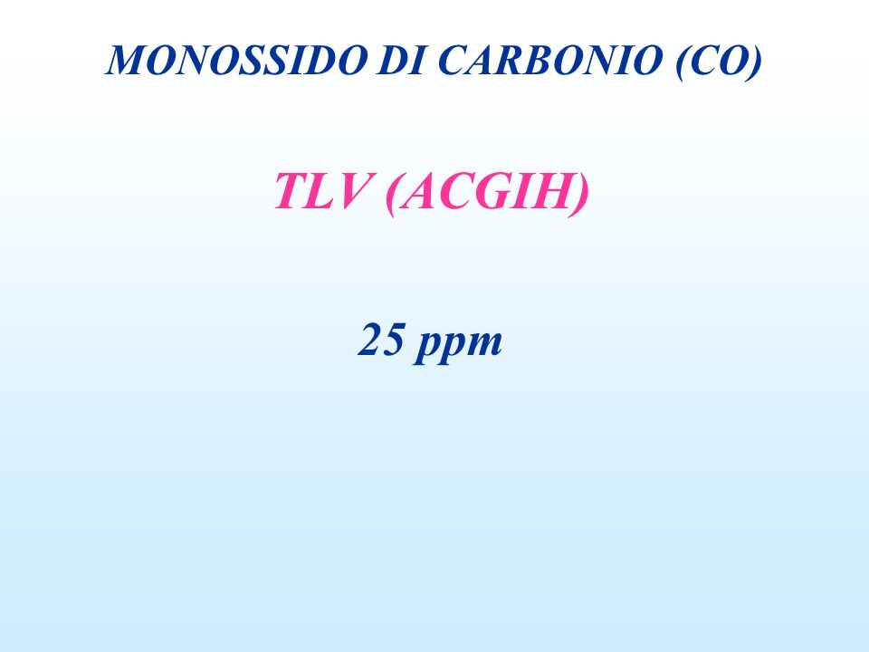 TLV (ACGIH) 25 ppm MONOSSIDO DI CARBONIO (CO)