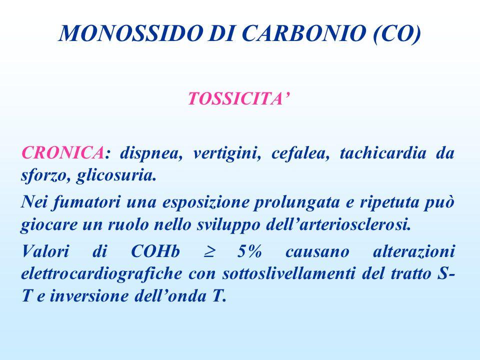 TOSSICITA CRONICA: dispnea, vertigini, cefalea, tachicardia da sforzo, glicosuria. Nei fumatori una esposizione prolungata e ripetuta può giocare un r